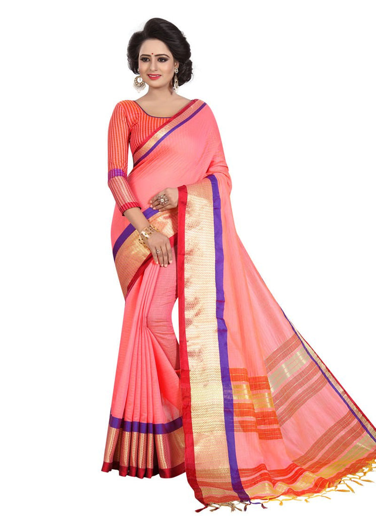 2497f4ffcc7 Pink Golden Color Cotton Silk Poly Silk Saree With Blouse – Shopping ...