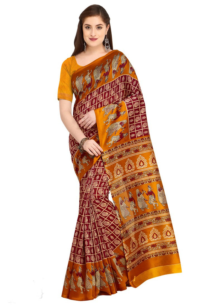 25bd1ce7001 Latest Women Yellow Maroon Color Poly Silk Saree With Blouse ...
