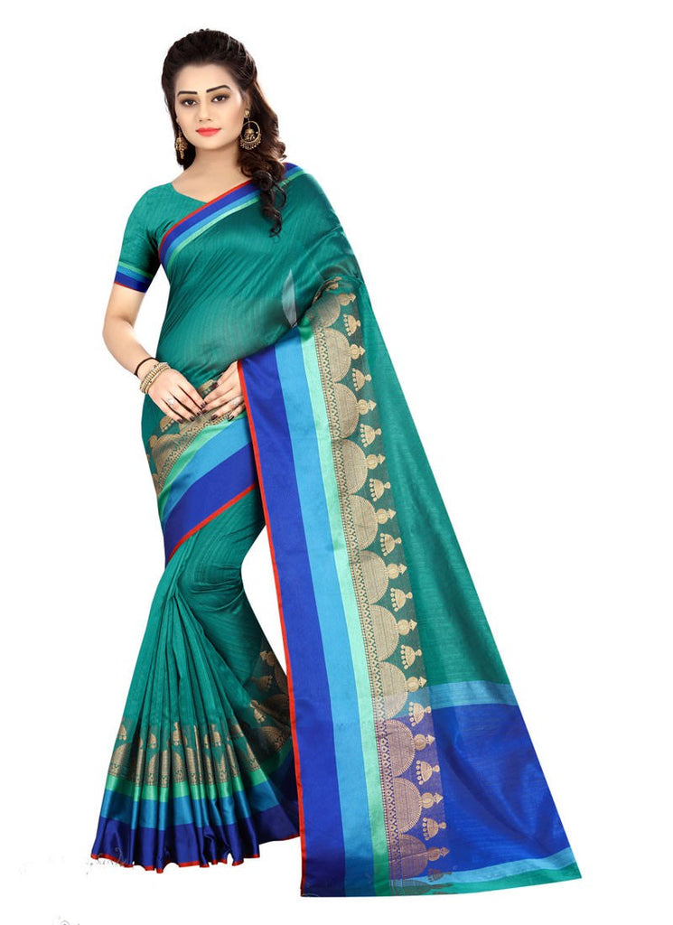 d10d0365e78c88 Peacock Blue Color Bhagalpuri Silk Saree With Blouse – Shopping Mantri