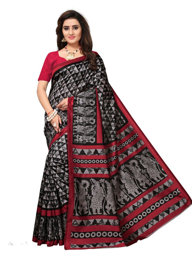 698ba5d6ac8 Women Latest Maroon Color Poly Silk Saree With Blouse – Shopping Mantri