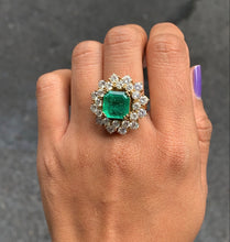Load image into Gallery viewer, Vintage 3.6 Carat Emerald and 4.8 Carat Diamond 18K Gold Dinner Ring