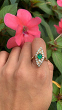 Load image into Gallery viewer, Edwardian Emerald and 1.46 Carat Diamond Navette 14K Gold Ring