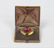 Load image into Gallery viewer, Victorian Pink Foiled Back Quartz Greek Key Enamel 18K Gold Brooch Pin - alpha-omega-jewelry
