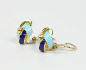 Vintage 18K Gold and Blue Enamel Love Knot Infinity Clip Earrings - alpha-omega-jewelry