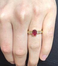 Load image into Gallery viewer, GIA Certified Ruby and Diamond Baguette 18K Gold Alternative Engagement Ring - alpha-omega-jewelry