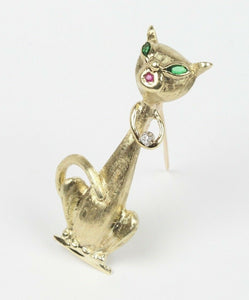 Vintage Siamese Cat Diamond and 14K Gold Brooch Pin - alpha-omega-jewelry