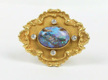Load image into Gallery viewer, Art Nouveau Boulder Opal Old Cut Diamond 15K Gold Antique Pin Brooch - alpha-omega-jewelry