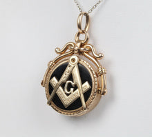 Load image into Gallery viewer, Vintage 14K Gold Carved Agate and Masonic Locket Spinner Pendant Charm - alpha-omega-jewelry