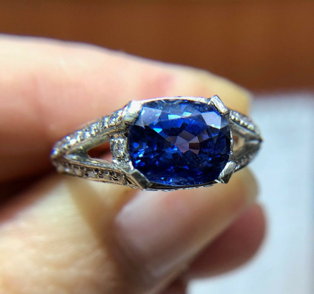 GIA Certified Midcentury 2.2 Carat Sapphire, Diamond East to West Platinum Ring - alpha-omega-jewelry