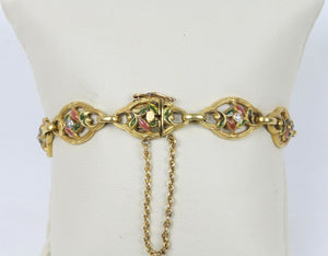 French Art Nouveau 18K Gold Enamel and Diamond Floral Motif Bracelet - alpha-omega-jewelry