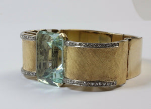 Dramatic 70 Carat Aquamarine and Diamond 18K Gold Retro Bracelet Bangle - alpha-omega-jewelry