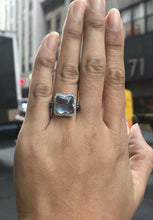 Load image into Gallery viewer, Blue Chalcedony Diamond and Natural Sapphire 18K White Gold Clover Ring - alpha-omega-jewelry