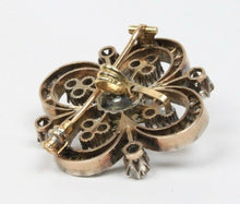 Load image into Gallery viewer, Victorian 4 Carat Rose Cut Diamond Silver over Gold Clover Style Brooch Pendant - alpha-omega-jewelry