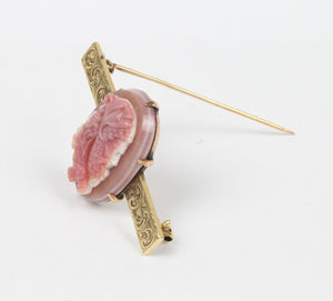 Victorian Natural Pink Agate Hand Carved Hercules Cameo 14K Gold Brooch Pin - alpha-omega-jewelry