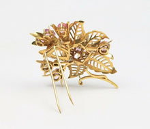 Load image into Gallery viewer, French Pastel Colored 20 Carat Natural Sapphire 18K Gold Flower Brooch Clip - alpha-omega-jewelry