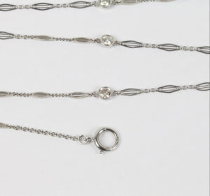 Art Deco Diamonds by the Yard 14K White Gold 27 Inch Chain Necklace - alpha-omega-jewelry