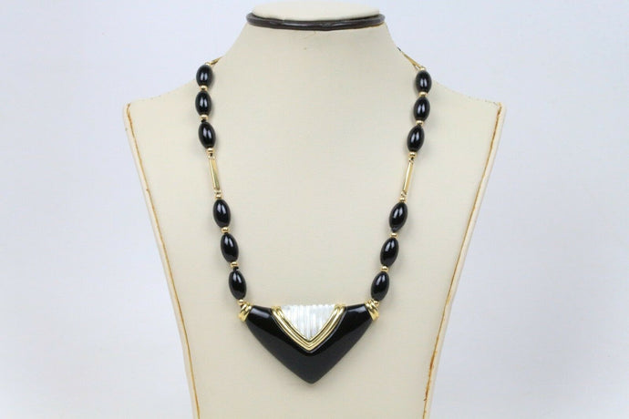 Long Onyx and Carved Mother of Pearl 14K Gold Statement Necklace - alpha-omega-jewelry