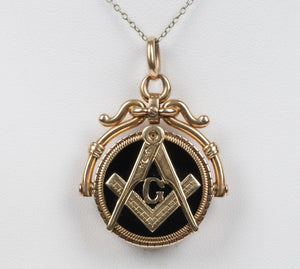 Vintage 14K Gold Carved Agate and Masonic Locket Spinner Pendant Charm - alpha-omega-jewelry