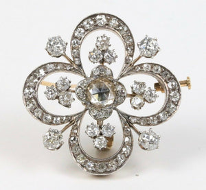 Victorian 4 Carat Rose Cut Diamond Silver over Gold Clover Style Brooch Pendant - alpha-omega-jewelry