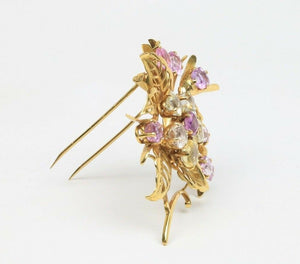 French Pastel Colored 20 Carat Natural Sapphire 18K Gold Flower Brooch Clip - alpha-omega-jewelry