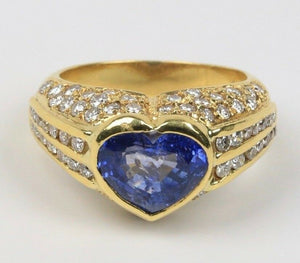 Vintage 1980s Heart Shaped 3 Carat Sapphire and 3.5 Carat Diamond 18K Gold Ring - alpha-omega-jewelry