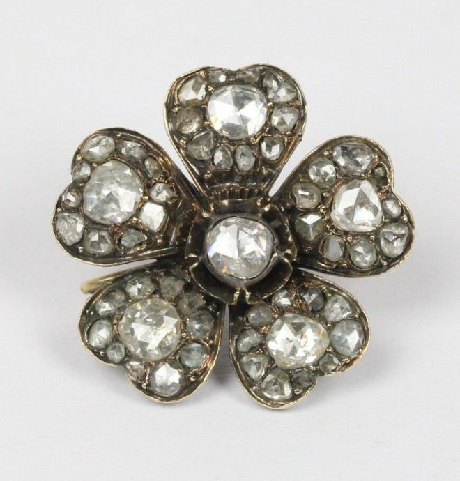 Georgian 2.5 Carats Rose Cut Diamond Silver and Gold Forget Me Not Flower Brooch - alpha-omega-jewelry