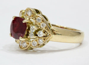 Vintage Natural Ruby Diamond 14K Gold Cluster Alternative Engagement Ring - alpha-omega-jewelry