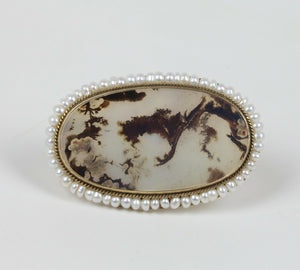 Antique Dendritic Moss Agate and Pearl 14K Gold Brooch Pin - alpha-omega-jewelry