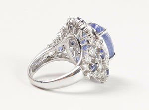 Vintage GIA 12.63 Carats Ceylon Unheated Sapphire and Diamond Cluster Platinum C - alpha-omega-jewelry