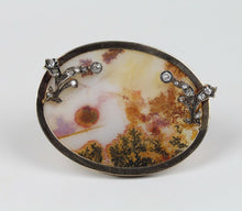 Load image into Gallery viewer, Large Victorian Dendritic Moss Agate and 2.5 Carat Diamond 14K Gold Brooch Pin - alpha-omega-jewelry