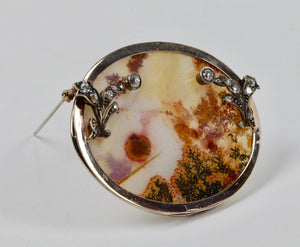 Large Victorian Dendritic Moss Agate and 2.5 Carat Diamond 14K Gold Brooch Pin - alpha-omega-jewelry