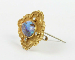 Art Nouveau Boulder Opal Old Cut Diamond 15K Gold Antique Pin Brooch - alpha-omega-jewelry