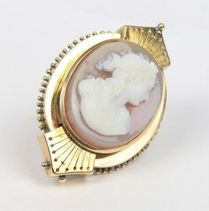 Victorian Banded Agate Carved Cameo 14K Gold Pendant Brooch - alpha-omega-jewelry