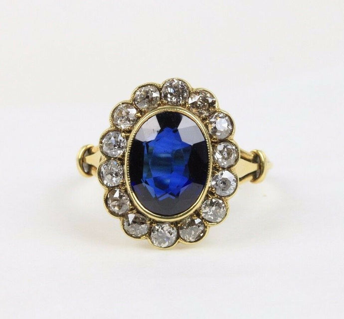 Antique Synthetic Sapphire & Old Mine Cut Diamond Halo 18K Gold Engagement Ring - alpha-omega-jewelry