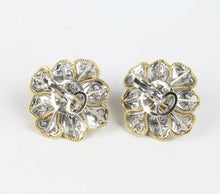 Load image into Gallery viewer, Platinum 18K Gold Pearl and 1.5 Carat Diamond Flower Cluster Clip Earrings - alpha-omega-jewelry