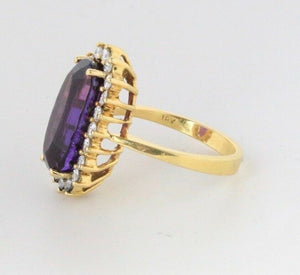 Regal 7.5 Carat Amethyst and Diamond 18K Gold Cocktail Ring - alpha-omega-jewelry