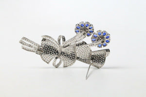 9.5 Carat Diamond and 4.5 Carat Sapphire 18K Gold Tremblant Flower Bouquet Pin - alpha-omega-jewelry