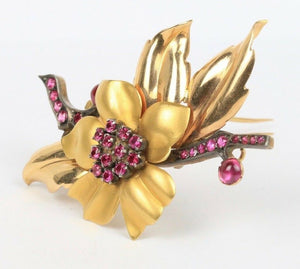Retro Era Synthetic Ruby Star Flower Branch 18K Gold Brooch Pin - alpha-omega-jewelry