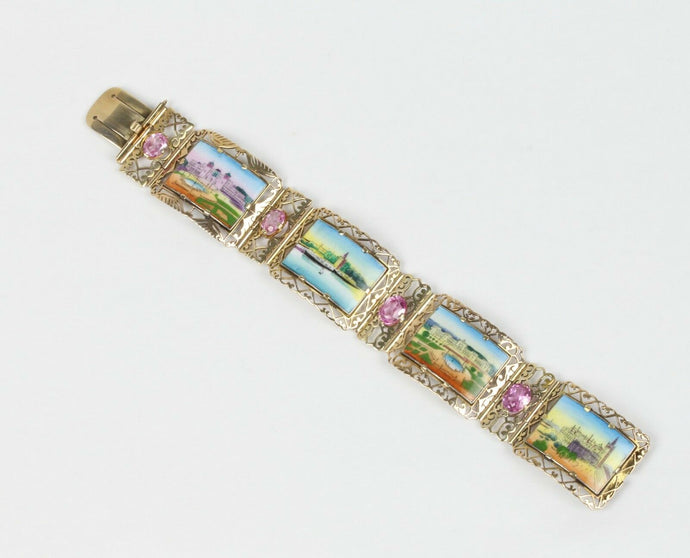 Midcentury Enameled Panel Paris Cityscapes Scenery 14K Gold Pink Topaz Bracelet - alpha-omega-jewelry