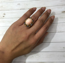 Load image into Gallery viewer, Natural Angel Skin Coral and Sapphire 18K Gold Cocktail Ring - alpha-omega-jewelry