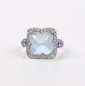 Blue Chalcedony Diamond and Natural Sapphire 18K White Gold Clover Ring - alpha-omega-jewelry
