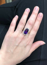 Load image into Gallery viewer, Regal 7.5 Carat Amethyst and Diamond 18K Gold Cocktail Ring - alpha-omega-jewelry