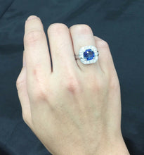 Load image into Gallery viewer, French GIA 3 Carat Sapphire 1 Carat Diamond 18K Gold Alternative Engagement Ring - alpha-omega-jewelry