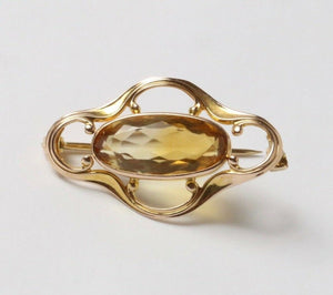 Simple Art Nouveau Natural Citrine 14K Gold Curved Lines Brooch Pin - alpha-omega-jewelry