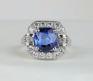 French GIA 3 Carat Sapphire 1 Carat Diamond 18K Gold Alternative Engagement Ring - alpha-omega-jewelry
