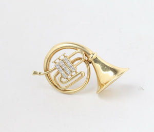 Vintage 14K Gold and Diamond French Horn Musical Instrument Pin Brooch - alpha-omega-jewelry