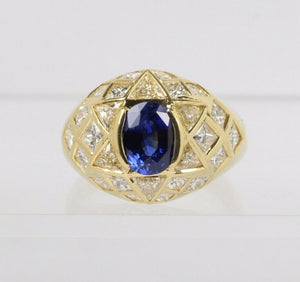 Natural Sapphire and 3 Carat Diamond Star 18K Gold Cocktail Ring - alpha-omega-jewelry