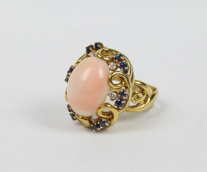 Natural Angel Skin Coral and Sapphire 18K Gold Cocktail Ring - alpha-omega-jewelry