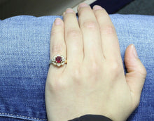 Load image into Gallery viewer, Vintage Natural Ruby Diamond 14K Gold Cluster Alternative Engagement Ring - alpha-omega-jewelry