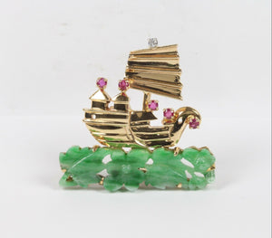 Vintage Carved Jadeite Jade Ruby and Diamond 14K Gold Ship Pin - alpha-omega-jewelry